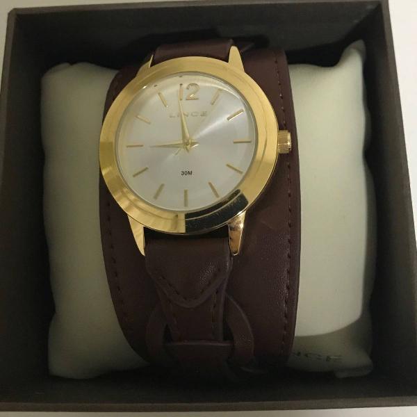 Relógio pulseira couro lince