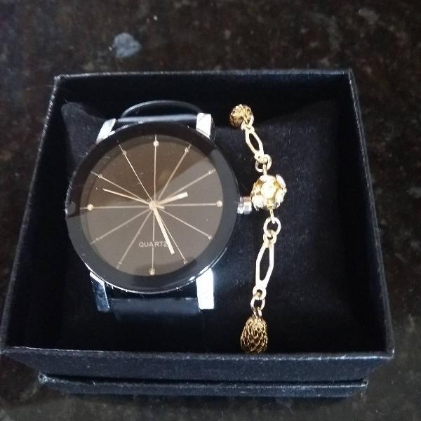Relógio pulseira couro mais pulseira
