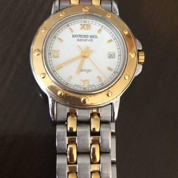 Relógio suíço raymond weil prata/dourado social