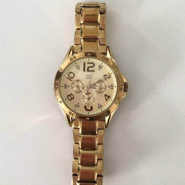 Relógio tommy hilfiger dourado feminino