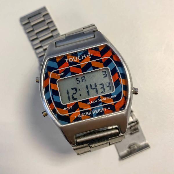 Relógio touch unissex - vintage/prata
