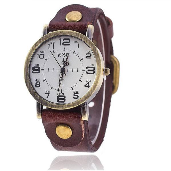 Relógio vintage de couro marrom