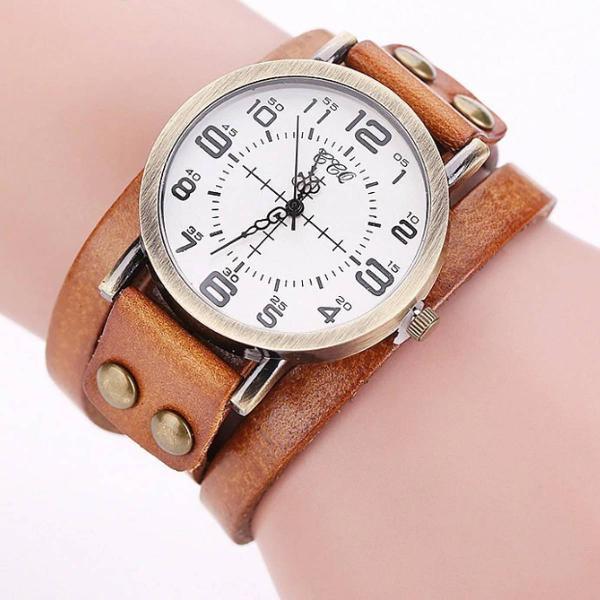 Relógio vintage de couro marrom claro