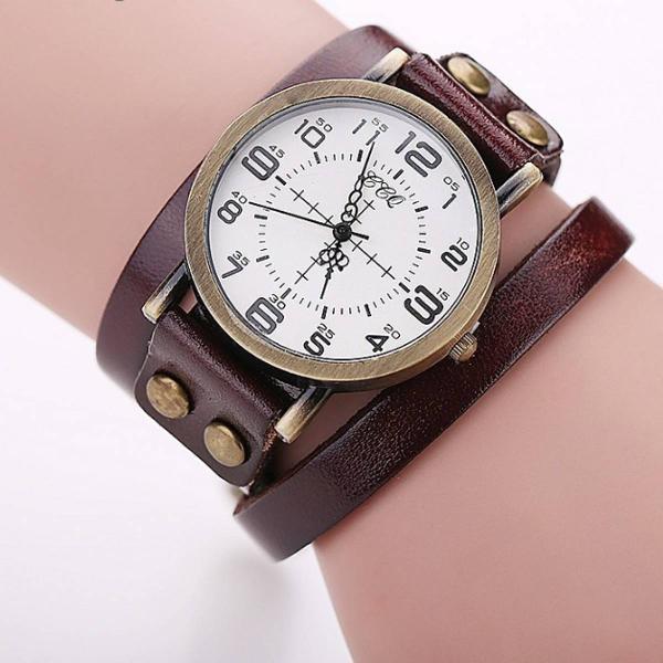 Relógio vintage de couro marrom escuro