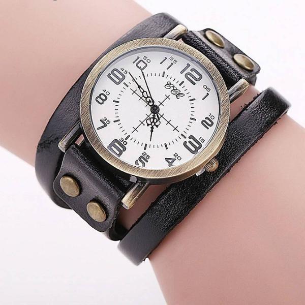 Relógio vintage de couro preto