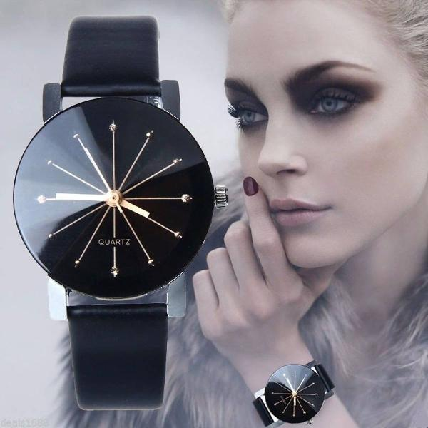 Relogio de pulso feminino pulseira couro bonito preto