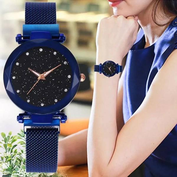 Relogio feminino ceu estrelado azul, pulseira magnetica