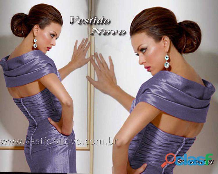 Vestido plus size azul em seda pura, mãe de noivo da loja vestido novo zona sul