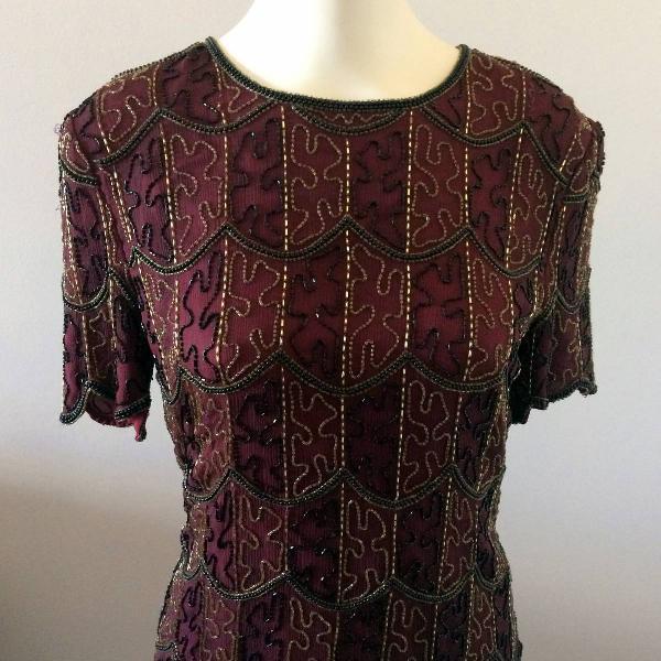 Blusa de seda pura bordada vintage