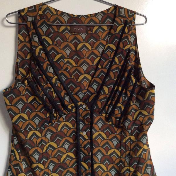 Blusa seda pura estampada mixed