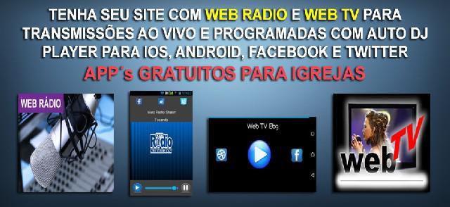 Site para igrejas com web rádio e app