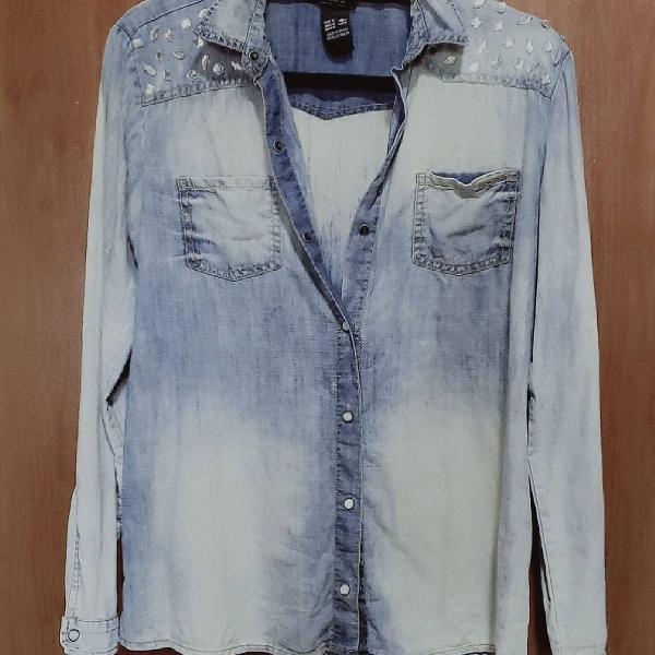 Blusa jeans manga longa colcci - p