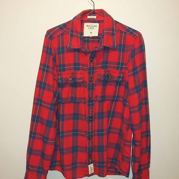 Camisa xadrez vermelha azul abercrombie & fitch muscle