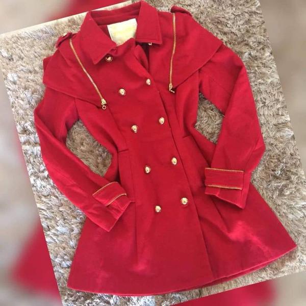 Casaco trench coat vermelho de la batida tam 38