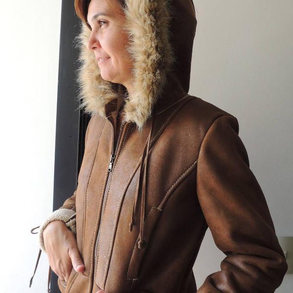 Jaqueta de couro sintetico guess