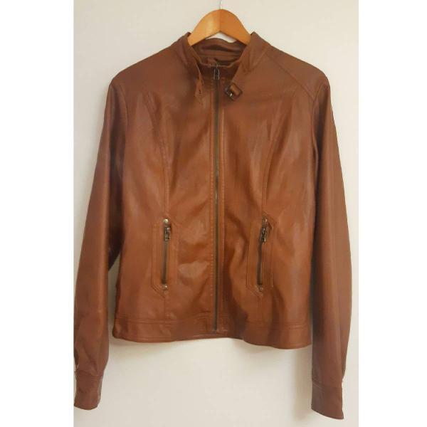 Linda jaqueta de couro original argentino,caramelo, marrom