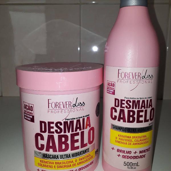 shampoo e máscara hidratante Desmaia Cabelo
