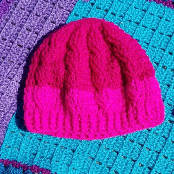 Touca de crochê 2 cores