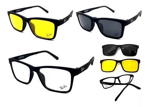 Armação oculos grau sol masculino ray-ban rb2088 2 clip