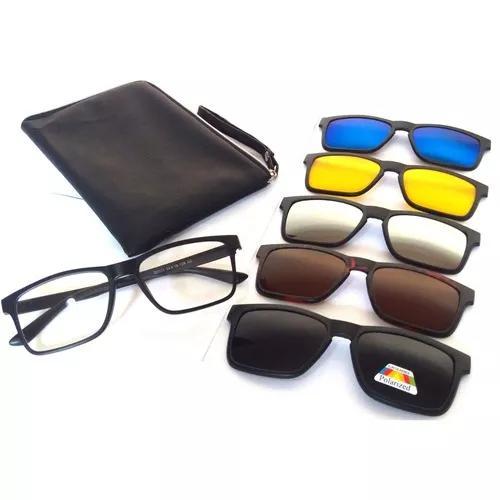 Armação óculos grau sol clip on polarizado 5 x 1 2202a