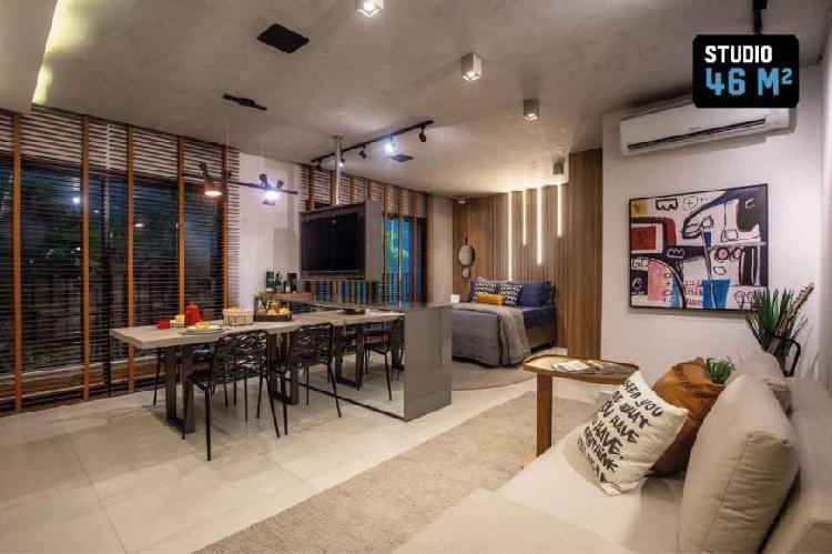 Flat com 1 quarto à venda, 41 m² por r$ 220.000 cod.