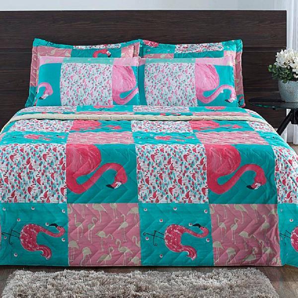 Jogo de cama casal 4 peças micro percal flamingo
