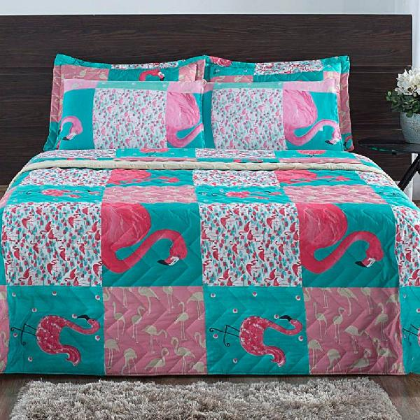Jogo de cama queen 3 peças micro percal flamingo