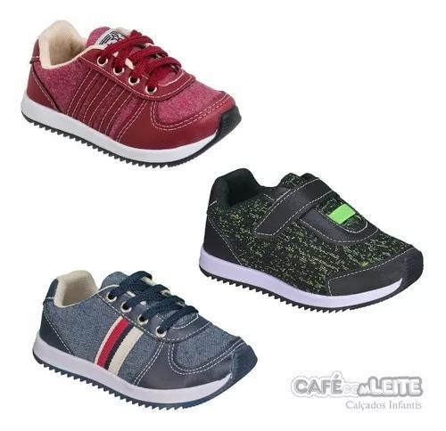 Kit tênis jogging menino masculino infantil(3 pares)