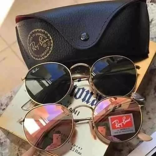 Oculos de sol kit c/2 redondo de cristal cores variadas