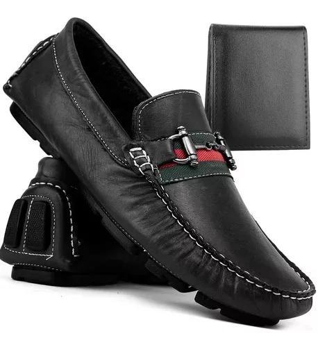 Sapato mocassim sider masculino couro touroboots + carteira