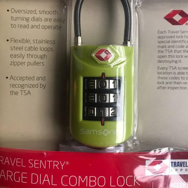 Cadeado samsonite 3 digitos verde (na embalagem)