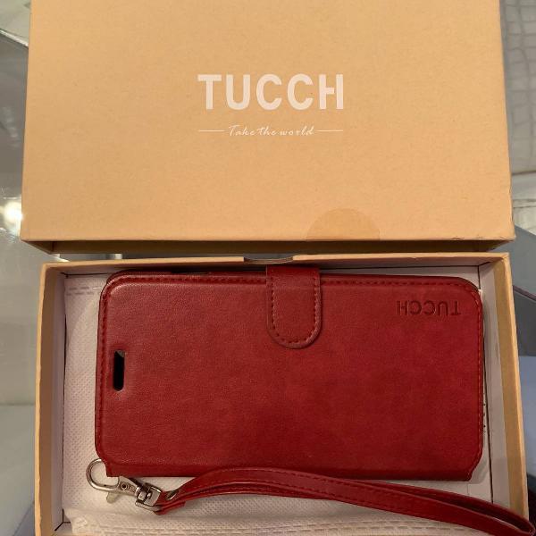 Capa em couro vermelha tucch para iphone 7 plus e 8 plus