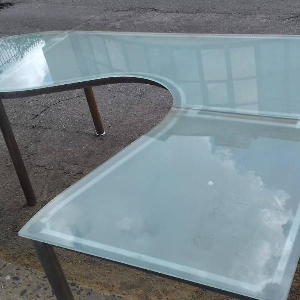 Mesa de vidro temperada tok stok
