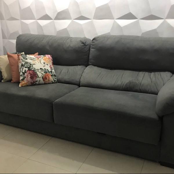 Sofá reclinável 4 lugares cinza 2.40m 58kg
