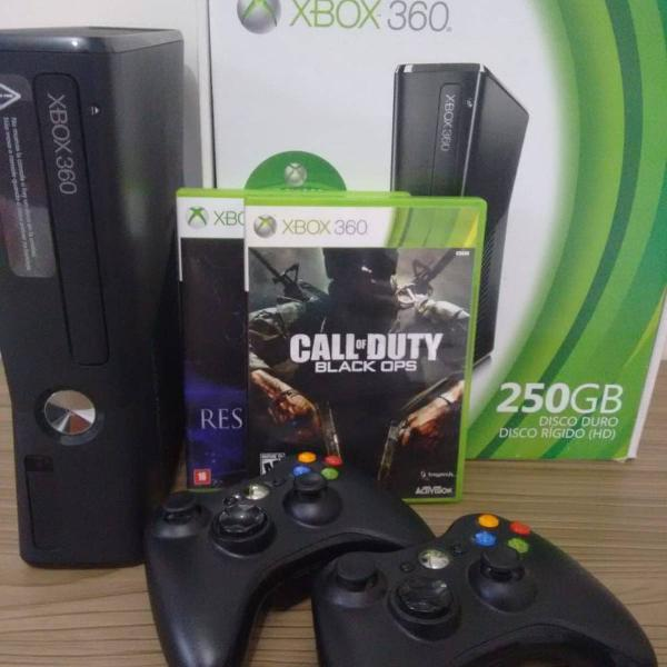 Xbox 360 hd 250gb + 2 controles originais + 2 games +
