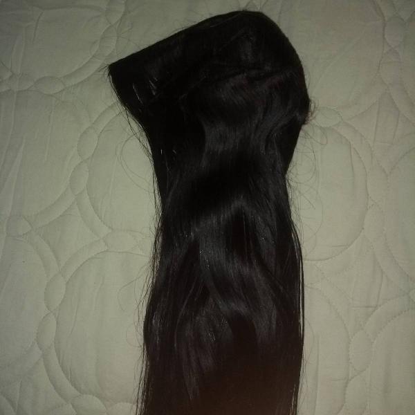 Cabelo humano mega hair escuro (3 kits)