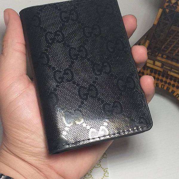 Carteira porta cartões gucci marmont gg refletiva all black