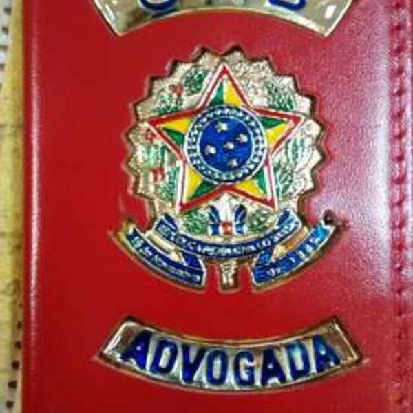 Carteira porta funcional oab advogada vermelha couro