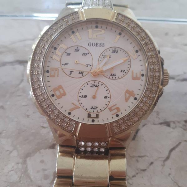 Relógio guess pulseira dourada com zirconias