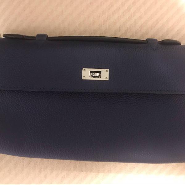 Bolsa carteira hermes couro legítimo azul marinho