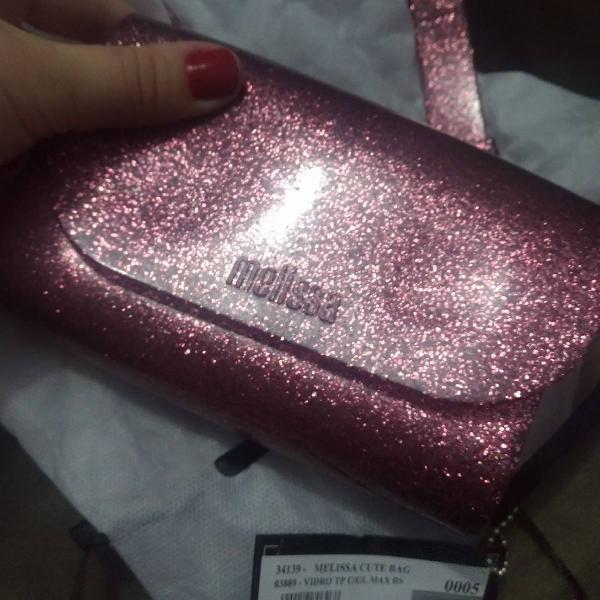 bolsa melissa pochete linda rosa gliteeer