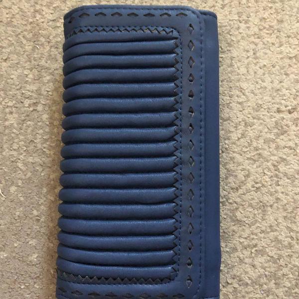 Carteira azul couro sintético