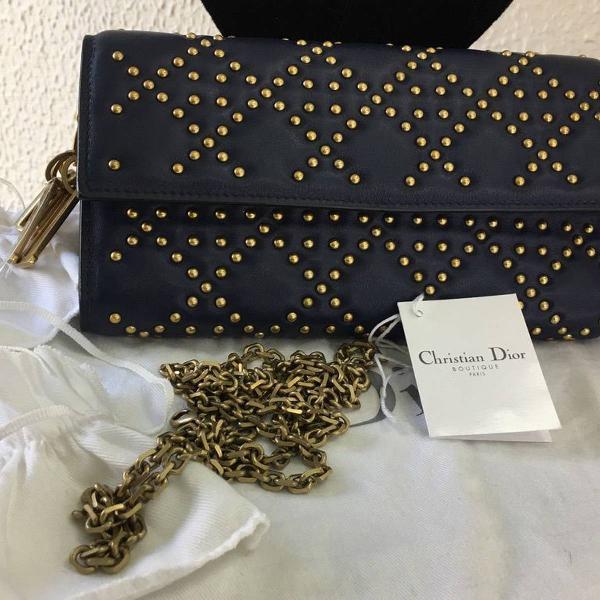 Carteira clutch dior studded wallet azul marinho original