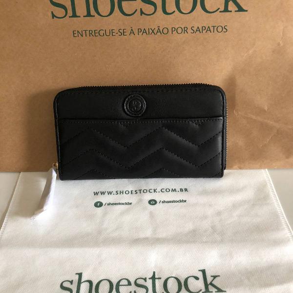 Carteira feminina shoestock preta nova