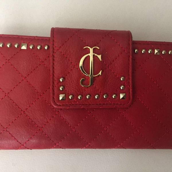 Carteira vermelha e dourada de couro juicy couture