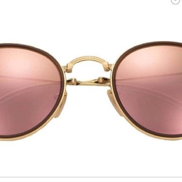 Culos rayban round rosa espelhado