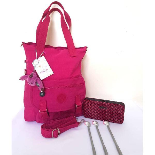 Kit bolsa roxa + carteira kipling