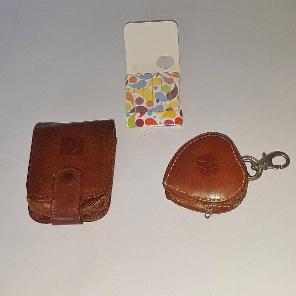 Porta níquel porta batom em couro e mini lixa