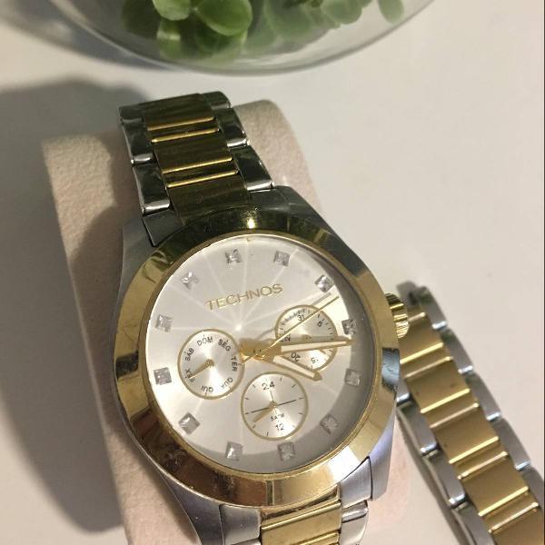 Relógio technos dourado e prata
