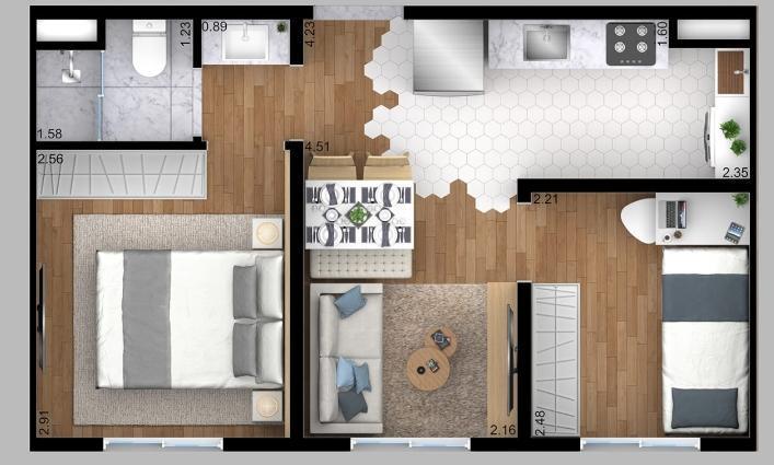 Apartamento com 2 quartos à venda, 38 m² por r$ 159.800